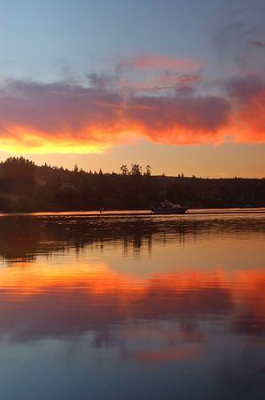 puget: sunset on Matsmats harbor, Puget Sound,  in  Washington State