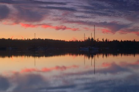 puget: Dramtic sunset on a bay in the Puget Sound