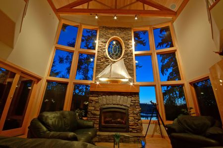 Living room with a view in an upscale house in Washington State Stock Photo - 579921