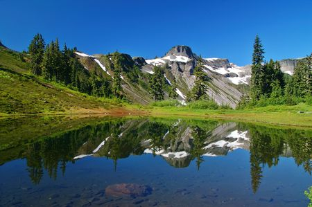Mountain peak reflected in a lake photo