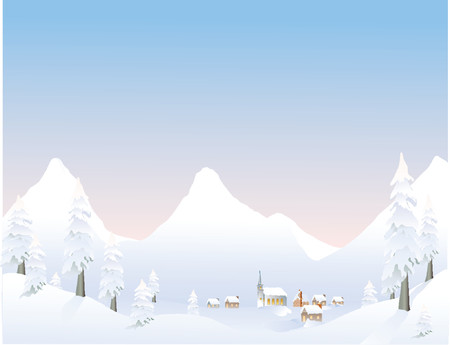 snowcapped mountain: Mountain village Illustration