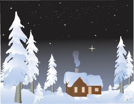 nuit hiver: cabine dans les bois sur une nuit d'hiver