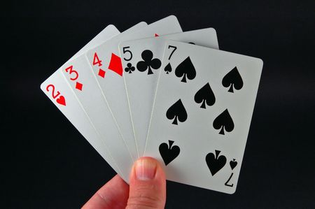 dealt: worst possible hand I can think of  in Texas Holdem poker