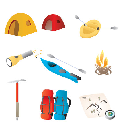 Various objects representative of the great outdoors, including tents, rafting, backpacks, etc. Illustration