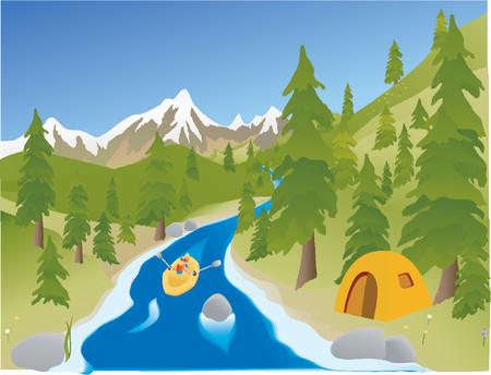 summertime river rafting Illustration