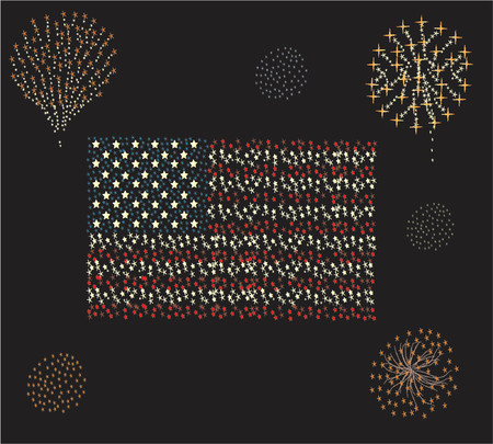 verenigde staten vlag: Verenigde Staten vlag en vuurwerk rond het