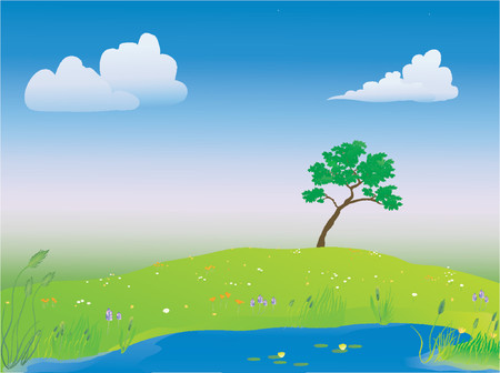 pond in the springtime Vector