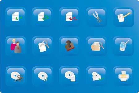 Blue color office button set Vector