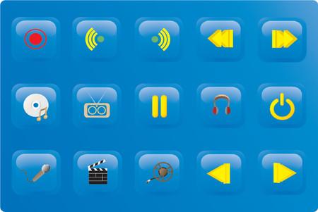 青い色のメディア ボタン セット