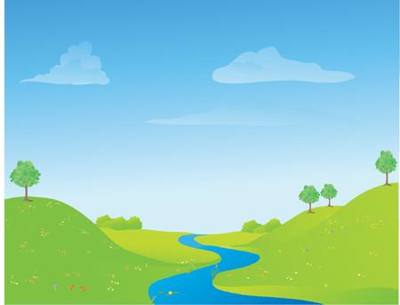 voorjaar rivier en landschap, met wilde bloemenpracht op de voorgrond Stock Illustratie