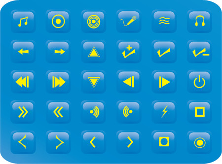 reverse: blue square web button media set, various multimedia and music related buttons Illustration
