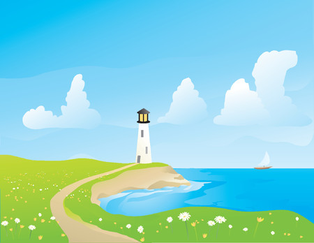 Illustration of a lightouse on the coast in springtime
