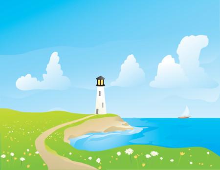 Ilustración de un lightouse en la costa en primavera