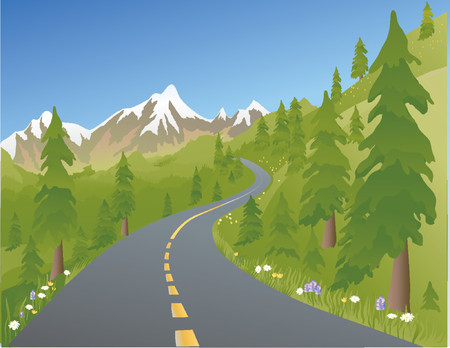 Illustration of a mountain road in the summer Ilustrace