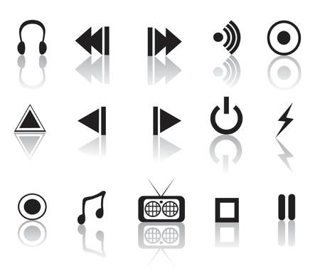 black and white reflective media icon set Stock Vector - 979651