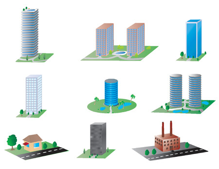various types of buildings, from an espresso stand to modern skyscrapers