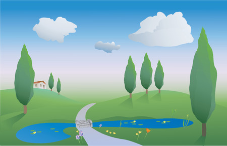 verdant: illustration of countryside on a spring day with a pond