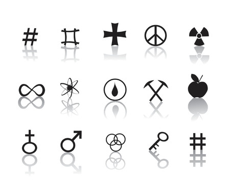 black and white signs and symbols icon set
