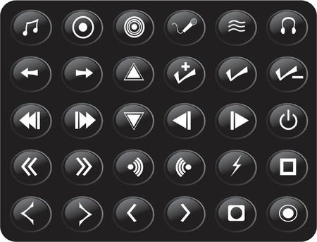 black and white web button media set Stock Vector - 979657