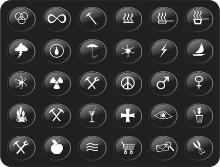 black and white web buttons with various signs and symbols on them Vector
