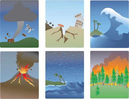 Miniture illustrazioni vettoriali di varie naturale distasters-tornado, terremoti, tsunami, il vulcano, uragano, incendi boschivi