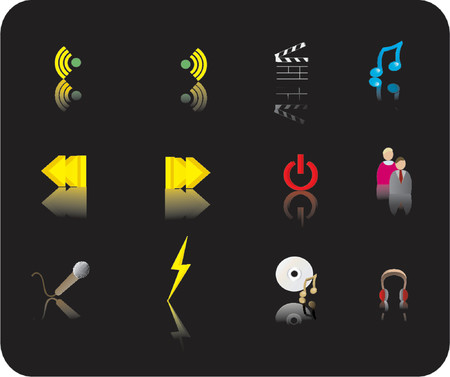 reverse: color media icon set with reflections on a black background