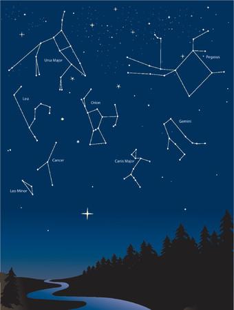 minor: various constellations in a starry night sky Illustration
