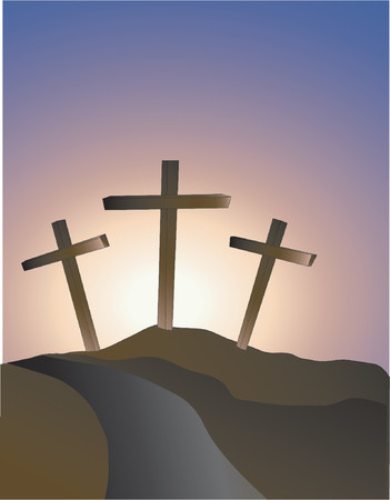 crucifixion: crosses on a hillside symbolising Easter Sunday Illustration
