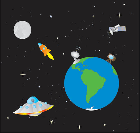 Cartoonish Illustration of the Earth and Outer Space Stock Vector - 1103766