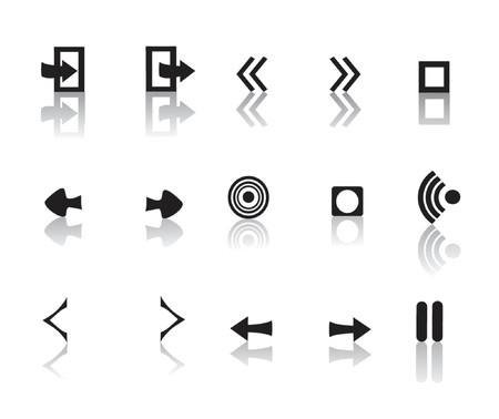 black and white reflective media icon set Stock Vector - 1326378