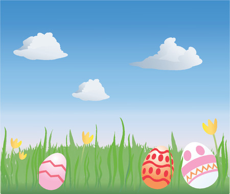 decorated Easter eggs in a grassy field Ilustração
