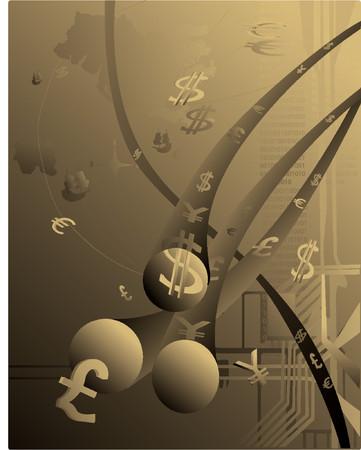 国際的な電子商取引の抽象的な描写  イラスト・ベクター素材