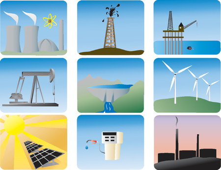 energy icons of various ways to produce energy Vector