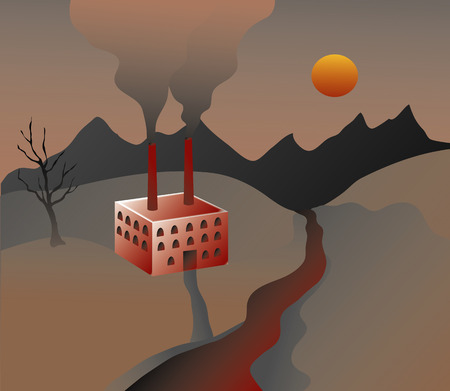 polluted: Factory belching out smog in a polluted landscape
