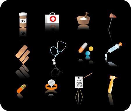 reflective: Color reflective medical icon set