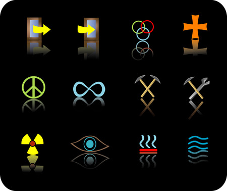 Signs and Symbols color reflective icon set
