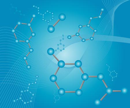 いくつかの動物や人間の寿命を拡張する知られている有機分子レスベラ トロール分子の抽象的なイラスト  イラスト・ベクター素材