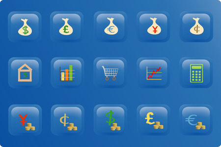 Blue buttons with color finance icons Vector