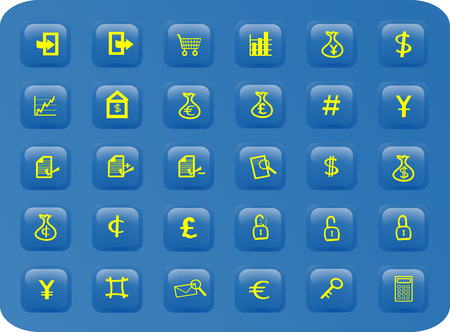 business and finance web button set, including various international currencies Stock Vector - 1606507