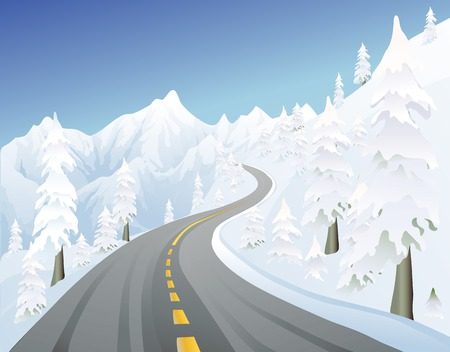 road conditions: snowy mountain road in the winter