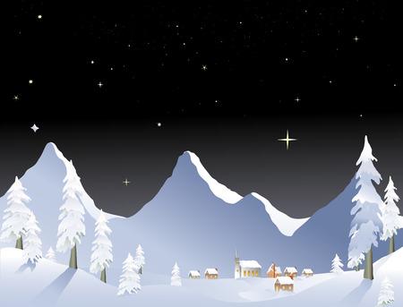 snowy mountain winter village at night Stock Vector - 1606517