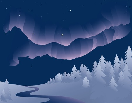 Vector based illustration of the Northern Lights, or Aurora Borealis