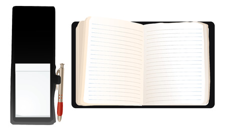 record office: illustration of two blank notebooks, pen included Illustration