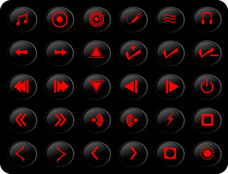 black and red web button media set Illustration
