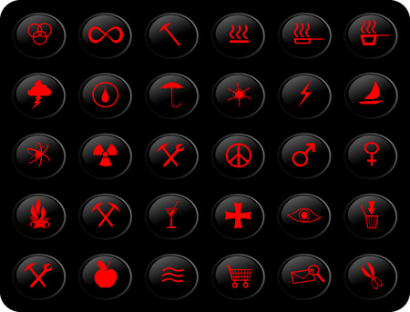web buttons, with various signs and symbols on them,black and red color scheme Vector