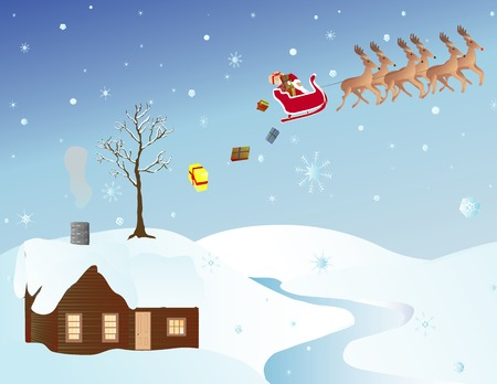 frigid: cold winter landscape with Christmas presents dropping out of Santas sleigh Illustration