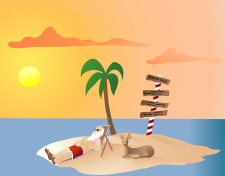 Santa Relaxing on the north pole turned into a tropical island with Rudolf Vector
