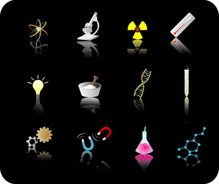 color refelective science icon set with black background Vector