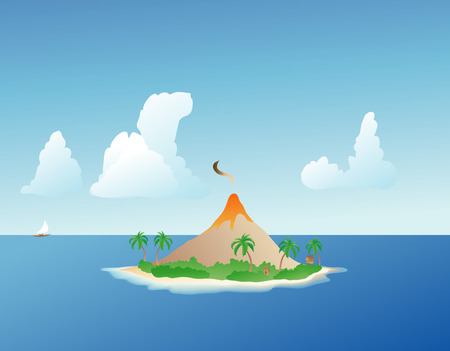 illustration of a volcano erupting: smoking volcano on a lush, verdant tropical island
