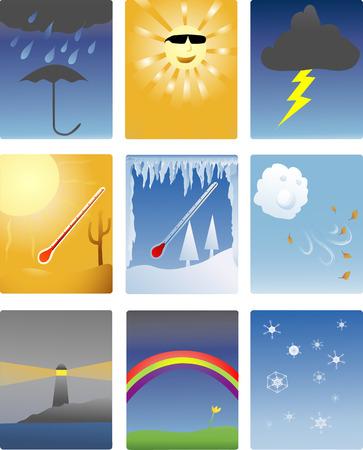 Iconos de los diferentes tipos de fenómenos meteorológicos  Ilustración de vector